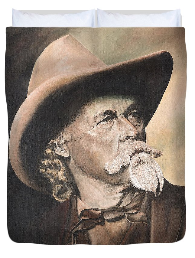 Buffalo Bill Duvet Cover featuring the painting Cody - Western Gentleman by Mary Ellen Anderson