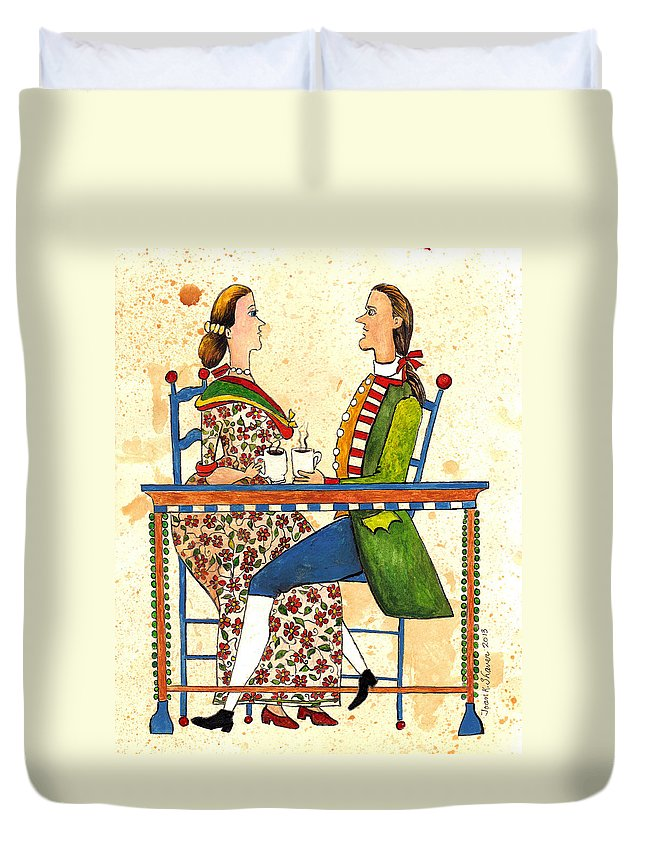 Early American Duvet Cover featuring the painting Coffee And Conversation by Joan Shaver