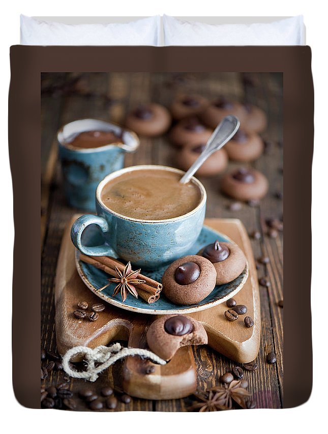 Temptation Duvet Cover featuring the photograph Coffee And Cookies by Verdina Anna