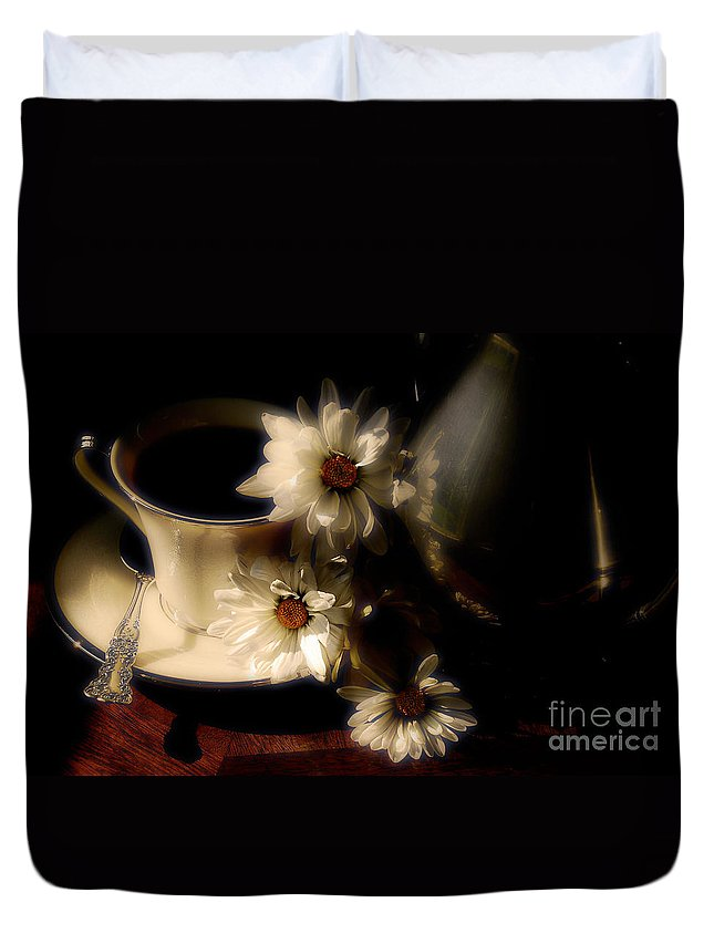 Coffee Duvet Cover featuring the photograph Coffee And Daisies by Lois Bryan