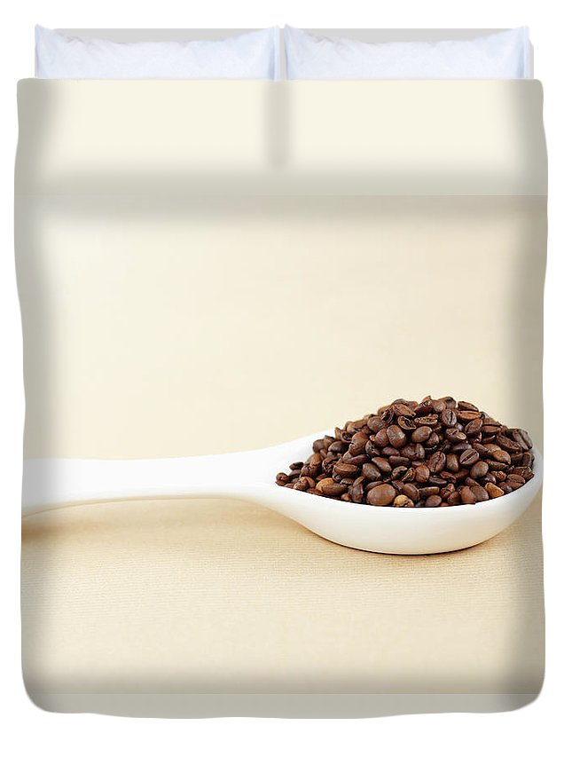 Spoon Duvet Cover featuring the photograph Coffee Beans by Bbostjan