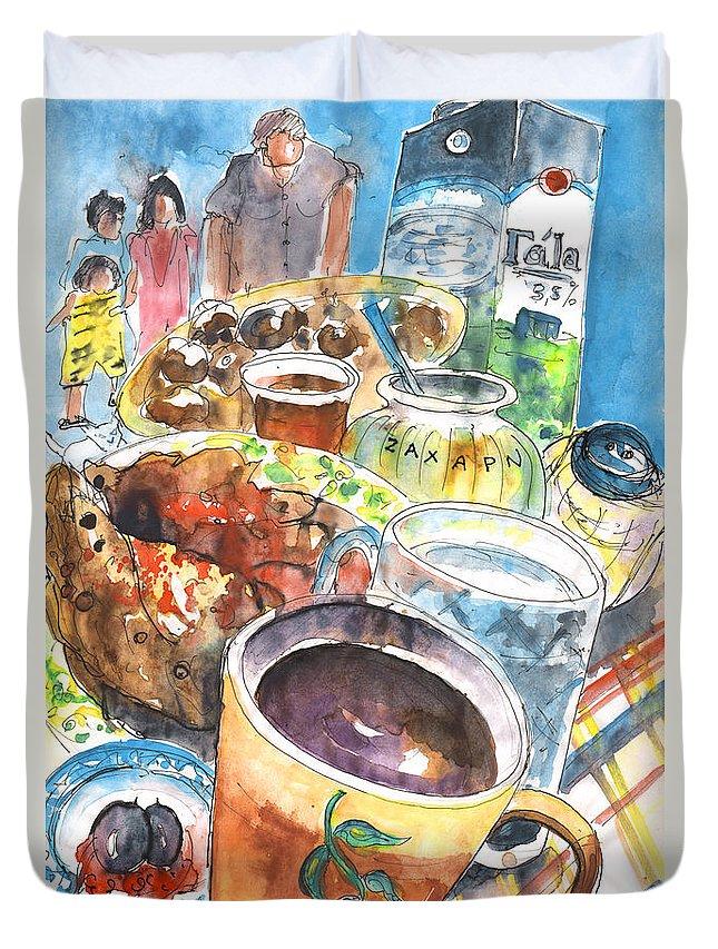 Travel Art Duvet Cover featuring the painting Coffee Break In Grakari In Crete by Miki De Goodaboom
