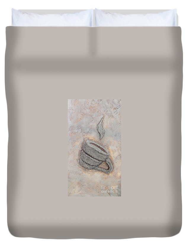 Coffee Cup Duvet Cover featuring the painting Coffee Cup Detail by Craig Green
