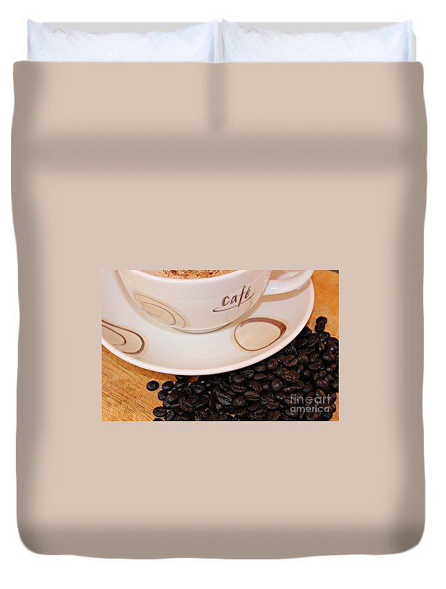 Coffee Duvet Cover featuring the photograph Coffee Rush by Clare Bevan