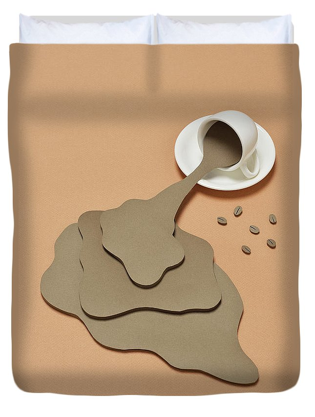 Inspiration Duvet Cover featuring the photograph Coffee Spilling Out From A Coffee Cup by Yagi Studio