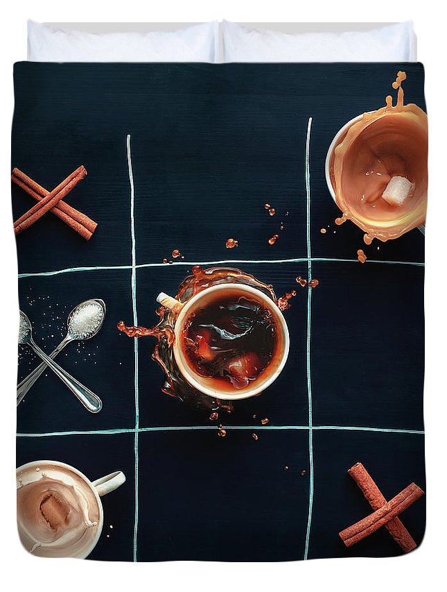 Milk Duvet Cover featuring the photograph Coffee Tic-tac-toe by Dina Belenko Photography