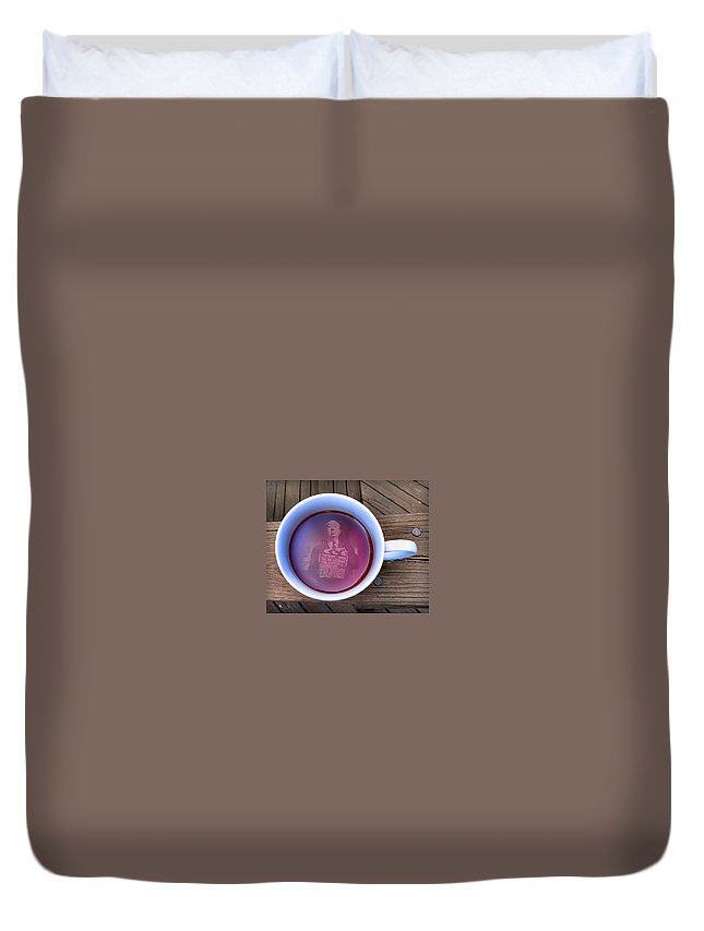 Alfred Hitchcock Duvet Cover featuring the photograph Coffee With A Psycho by T Cook