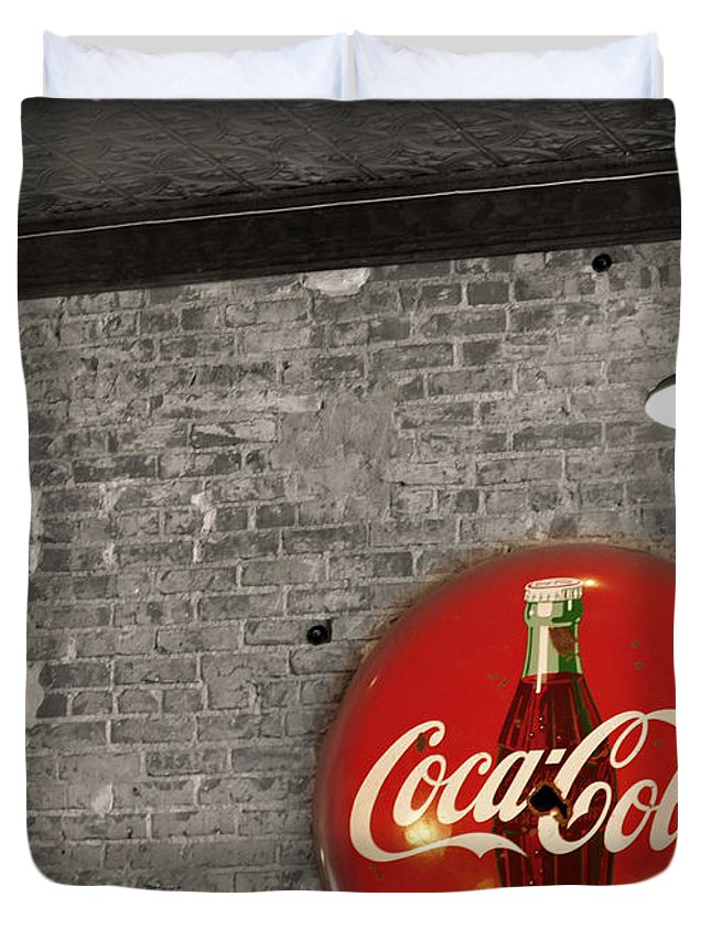 Inside Duvet Cover featuring the photograph Coke Cola Sign by Paulette B Wright