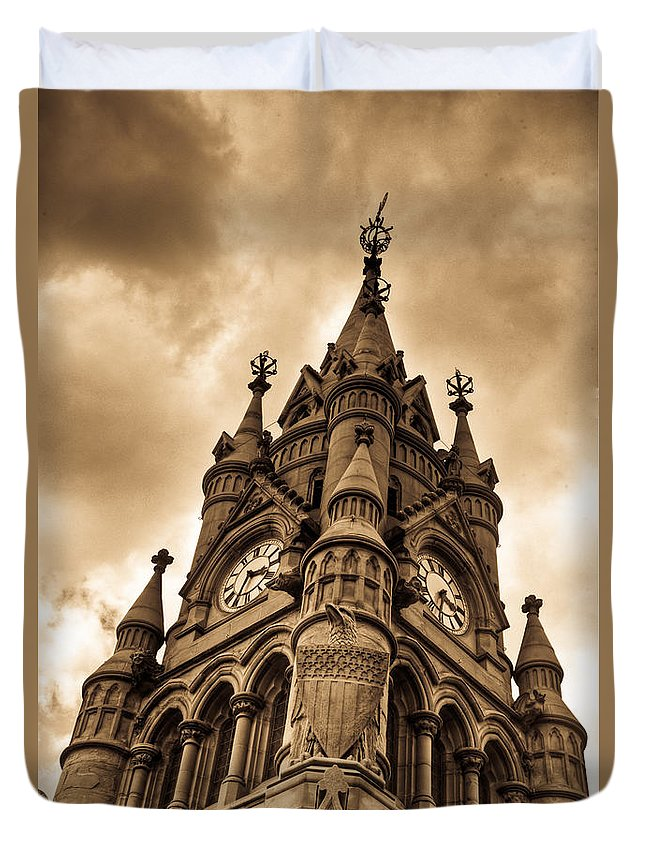 Stratford Duvet Cover featuring the photograph Colck Tower Stratford On Avon Sepia by Douglas Barnett