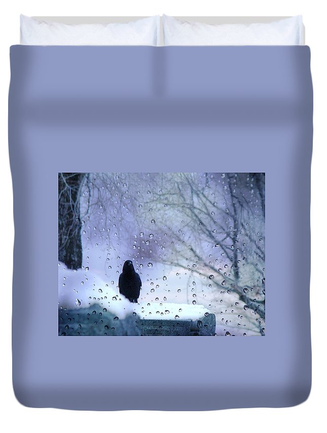 Winter Crow Duvet Cover featuring the photograph Cold Crow by Gothicrow Images