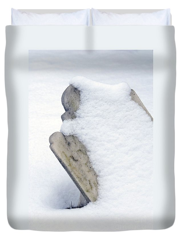 Tombstones Duvet Cover featuring the photograph Cold Dead by Paul W Faust - Impressions of Light