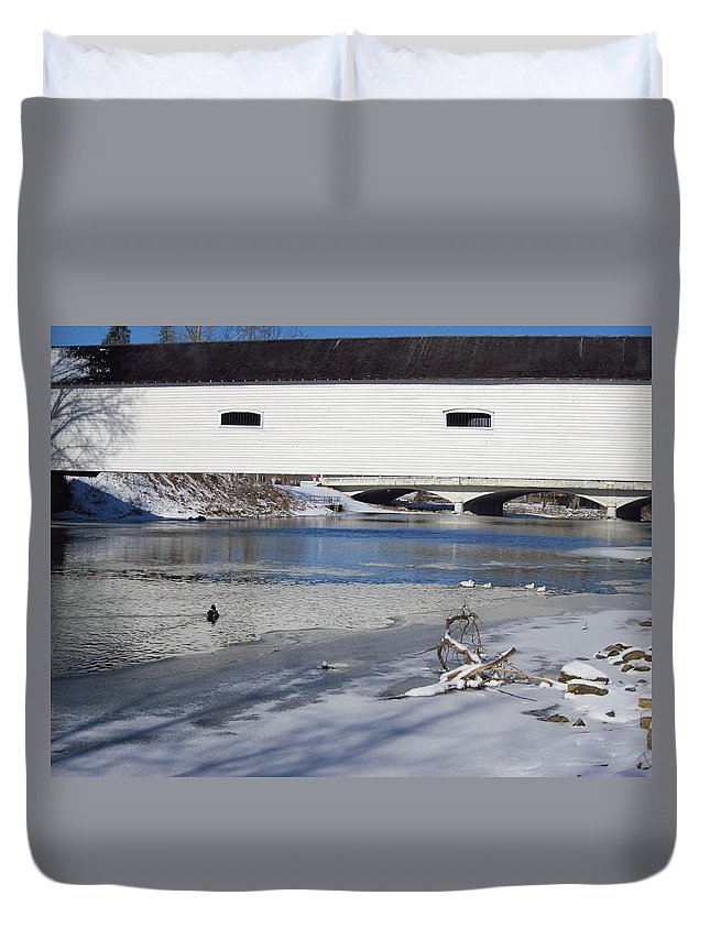 Elizabethton Covered Bridge Duvet Cover featuring the photograph Cold January Morning At The Bridge by Cynthia Clark