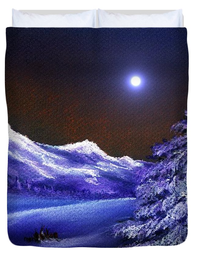 Moon Duvet Cover featuring the painting Cold Night by Anastasiya Malakhova