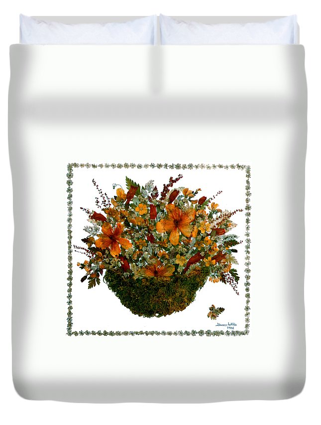 Pressed Flower Collage Duvet Cover featuring the mixed media Collage With Wild Flowers by Madalena Lobao-Tello