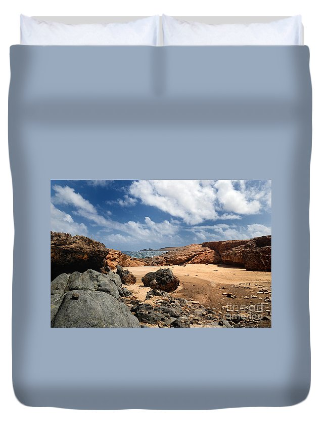 Arch Duvet Cover featuring the photograph Collapsed Natural Bridge Aruba by Amy Cicconi