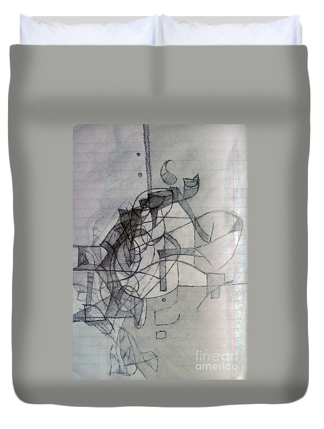 Torah Duvet Cover featuring the drawing Collecting Thought 4 by David Baruch Wolk