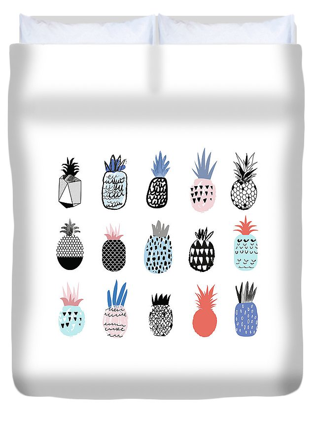 Art Duvet Cover featuring the digital art Collection Of Cute Pineapples With by Loliputa