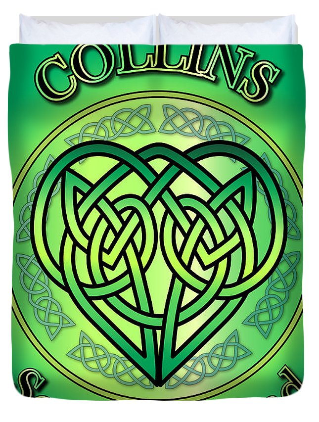 Collins Duvet Cover featuring the digital art Collins Soul Of Ireland by Ireland Calling