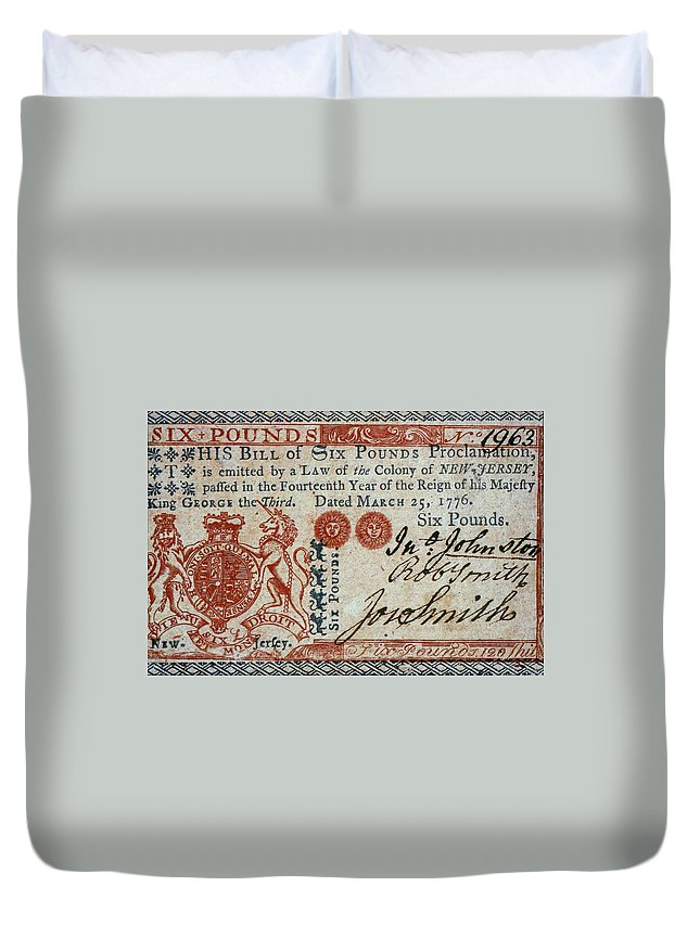 1776 Duvet Cover featuring the photograph Colonial Currency, 1776 by Granger