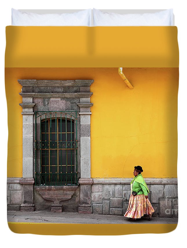 Peru Duvet Cover featuring the photograph Colonial Puno by James Brunker