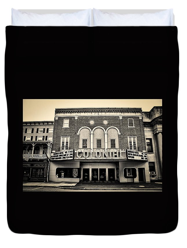 Colonial Duvet Cover featuring the photograph Colonial Theater In Phoenixville In Sepia by Bill Cannon