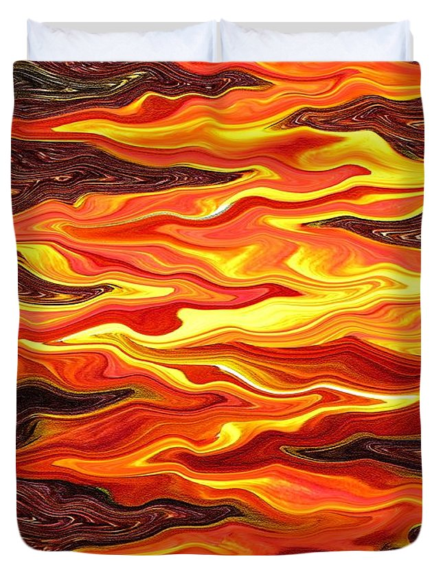 Sunflower Duvet Cover featuring the painting Color Fashion Waves by J McCombie