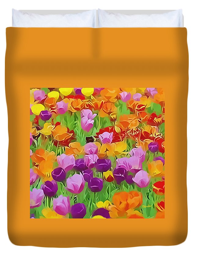 Flowers Duvet Cover featuring the digital art Color Field by Peggy Gabrielson