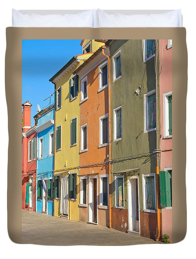 Architecture Duvet Cover featuring the photograph Color Houses In Row by Jaroslav Frank
