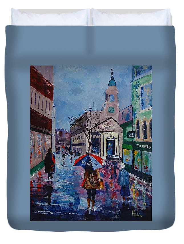 Norwich Duvet Cover featuring the painting Color In The Rain by Valerie Curtiss