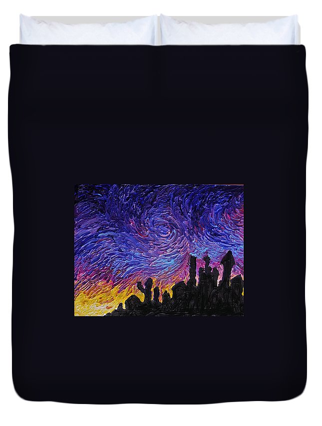 Building Duvet Cover featuring the painting Color Of The Sky Part1 by Felix Concepcion