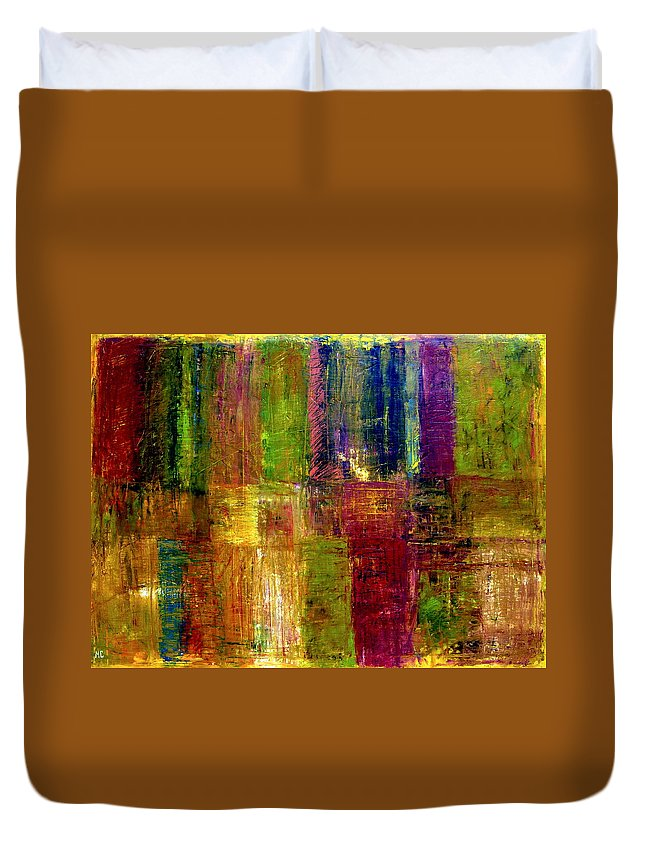 Abstract Duvet Cover featuring the painting Color Panel Abstract by Michelle Calkins