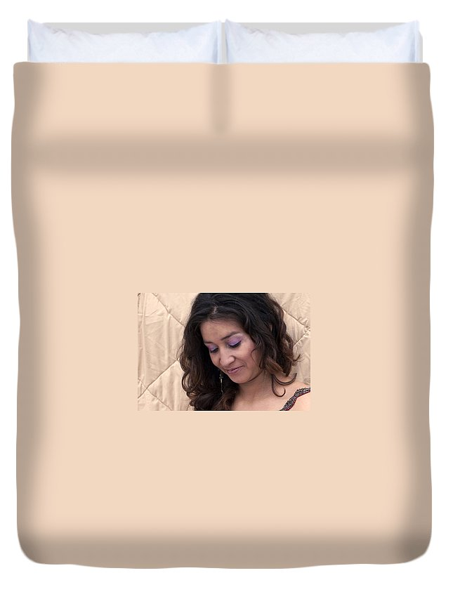 Portrait Duvet Cover featuring the photograph Color Portrait Young Spanish Woman II by Sally Rockefeller