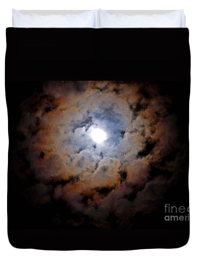 Cloud Duvet Cover featuring the photograph Color Ring Around The Moon by Jay Milo