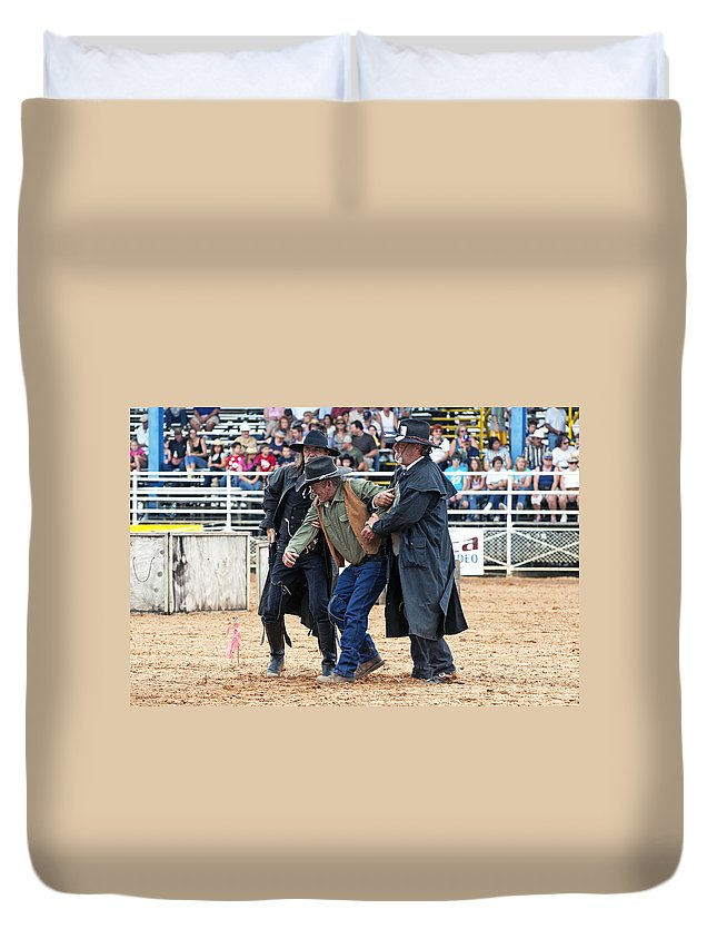 Rodeo Duvet Cover featuring the photograph Color Rodeo Shootout Deputies Arrest Outlaw by Sally Rockefeller
