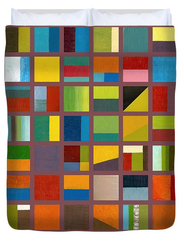 Abstract Duvet Cover featuring the painting Color Study Collage 65 by Michelle Calkins
