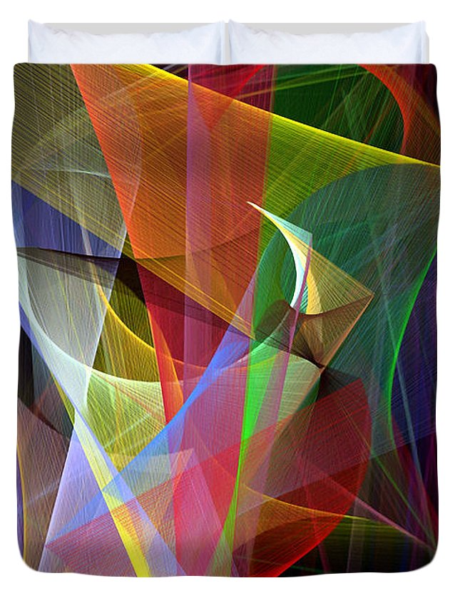 Abstract Duvet Cover featuring the digital art Color Symphony by Rafael Salazar