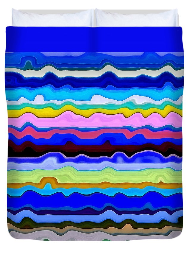Textural Duvet Cover featuring the painting Color Waves No. 4 by Michelle Calkins