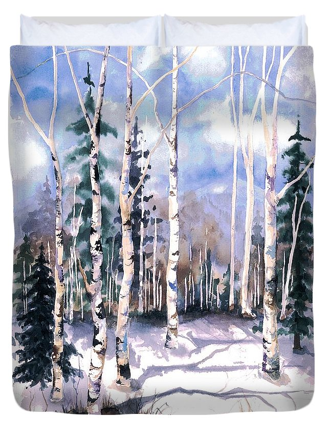 Water Color Paintings Duvet Cover featuring the painting Colorado Aspens 2 by Barbara Jewell