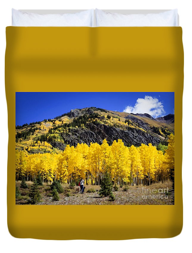 Nature Duvet Cover featuring the painting Colorado Autumn Hike by Janice Pariza