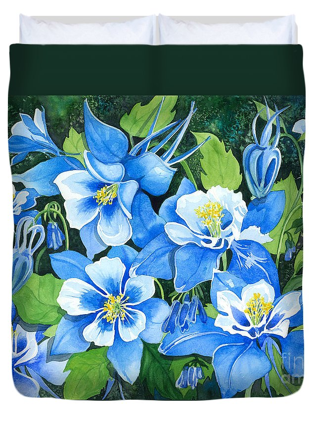 Flowers Duvet Cover featuring the painting Colorado Columbines by Barbara Jewell