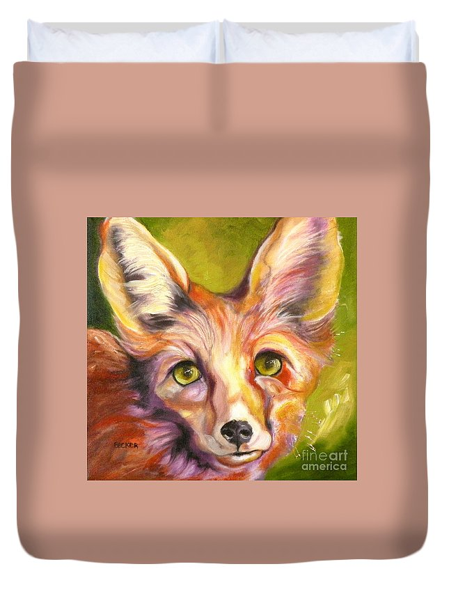 Oil Painting Duvet Cover featuring the painting Colorado Fox by Susan A Becker