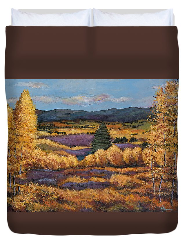 Autumn Aspen Duvet Cover featuring the painting Colorado by Johnathan Harris