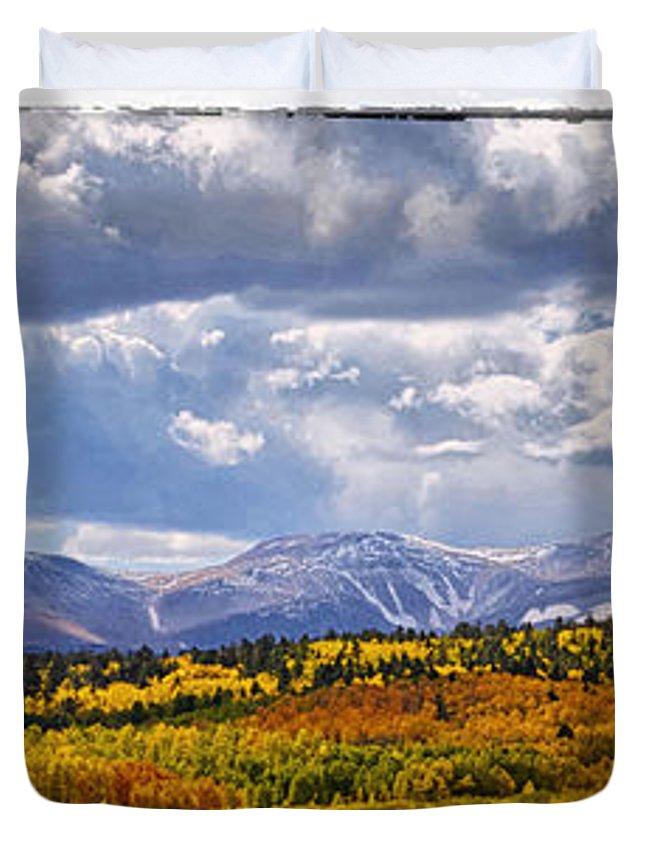 Mountain Duvet Cover featuring the photograph Colorado Landscape by OLena Art Lena Owens