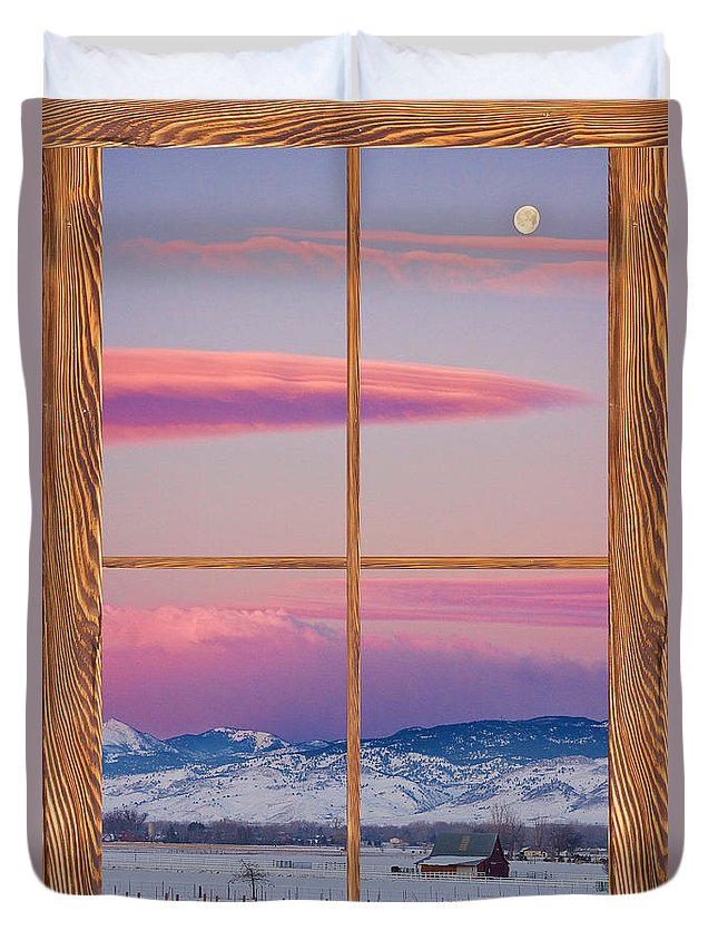 Windows Duvet Cover featuring the photograph Colorado Moon Sunrise Barn Wood Picture Window View by James BO Insogna