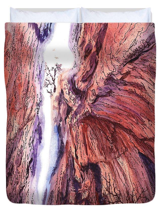 Colorado Duvet Cover featuring the painting Colorado Mountains Garden Of The Gods Canyon by Irina Sztukowski