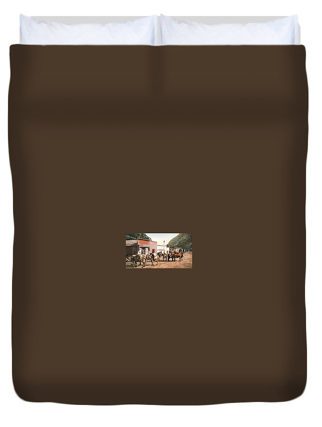 Colorado Pack Train Duvet Cover featuring the digital art Colorado Pack Train by Unknown