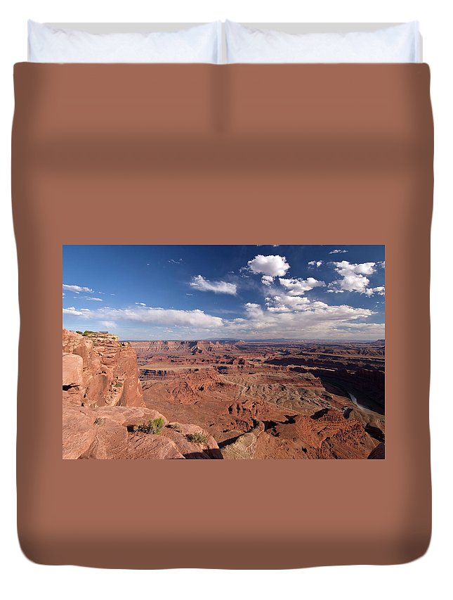 Scenics Duvet Cover featuring the photograph Colorado River Canyon From Dead Horse by John Elk