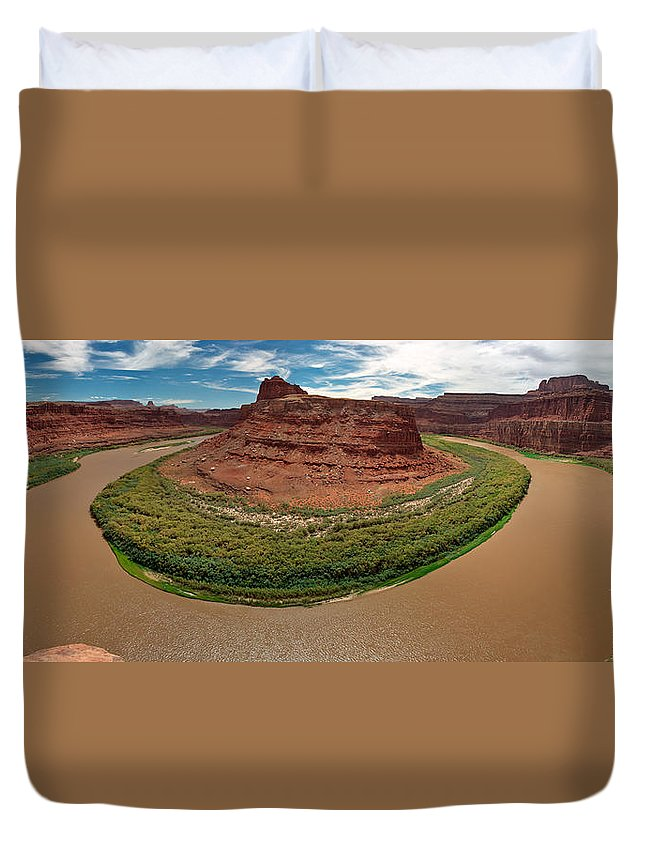 3scape Photos Duvet Cover featuring the photograph Colorado River Gooseneck by Adam Romanowicz