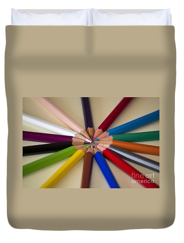 Color Duvet Cover featuring the photograph Colored Pencils by Nikki Vig