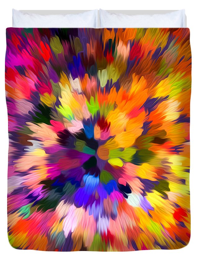 Abstract Duvet Cover featuring the painting Colorful Abstract Background by Jeelan Clark